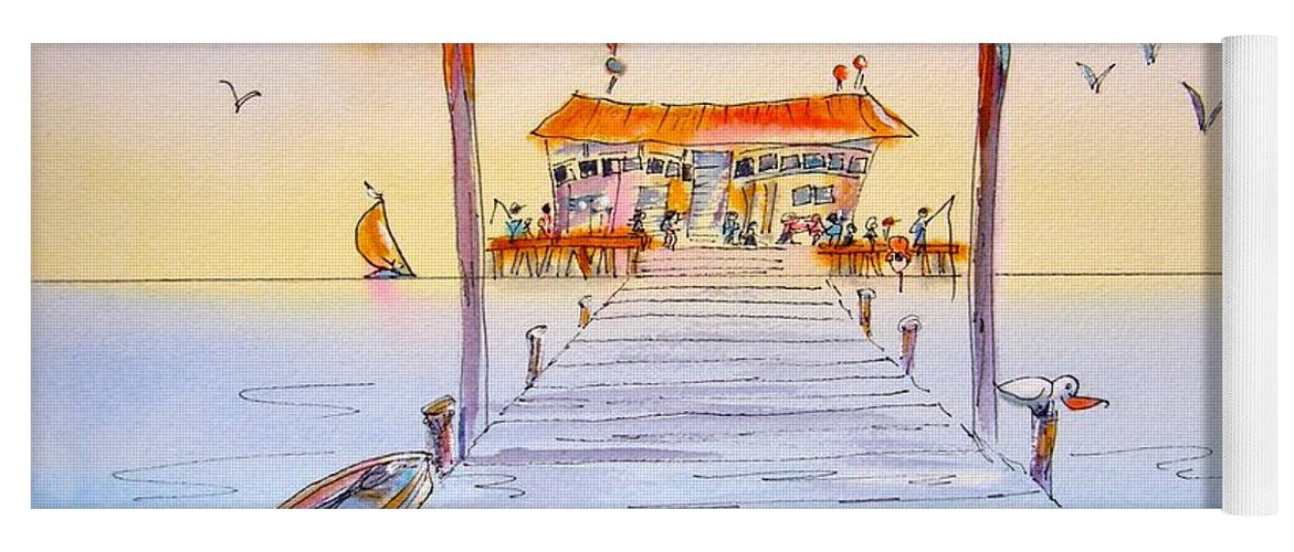Calendar Yoga Mat featuring the painting Rod And Reel Pier by Midge Pippel
