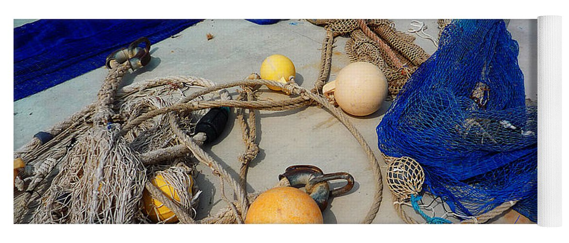 Fishing Net Yoga Mat featuring the photograph Ropes Nets And Bouys by Charles Stuart