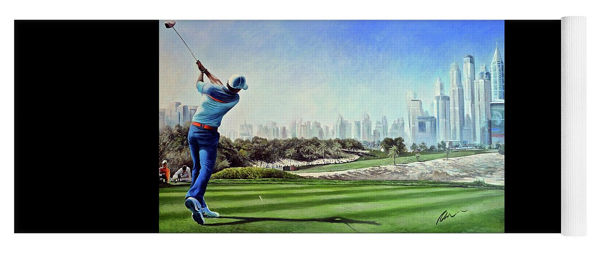 Rory Mcilroy Yoga Mat featuring the painting Rory At Ddc Emirates Gc Dubai 8th 2014 by Mark Robinson