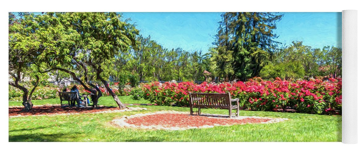 California Yoga Mat featuring the digital art Rose Garden Benches Impressionist Digital Painting by Randy Herring