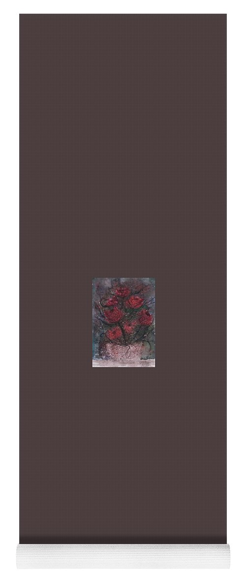 Watercolor Yoga Mat featuring the painting Roses At Night Gothic Surreal Modern Painting Poster Print by Derek Mccrea