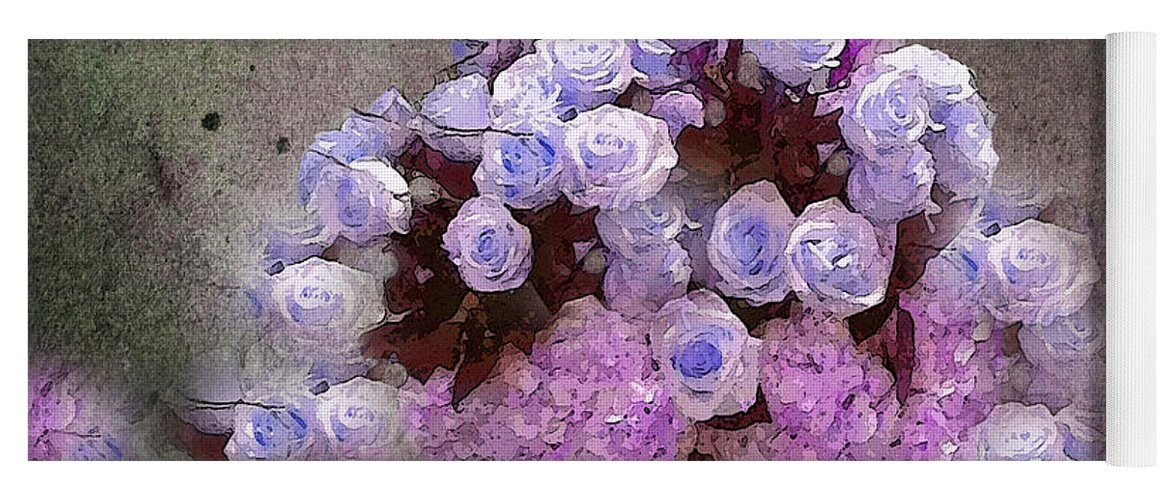 Roses Yoga Mat featuring the painting Roses Lilac And Shabby Pink by Saundra Myles