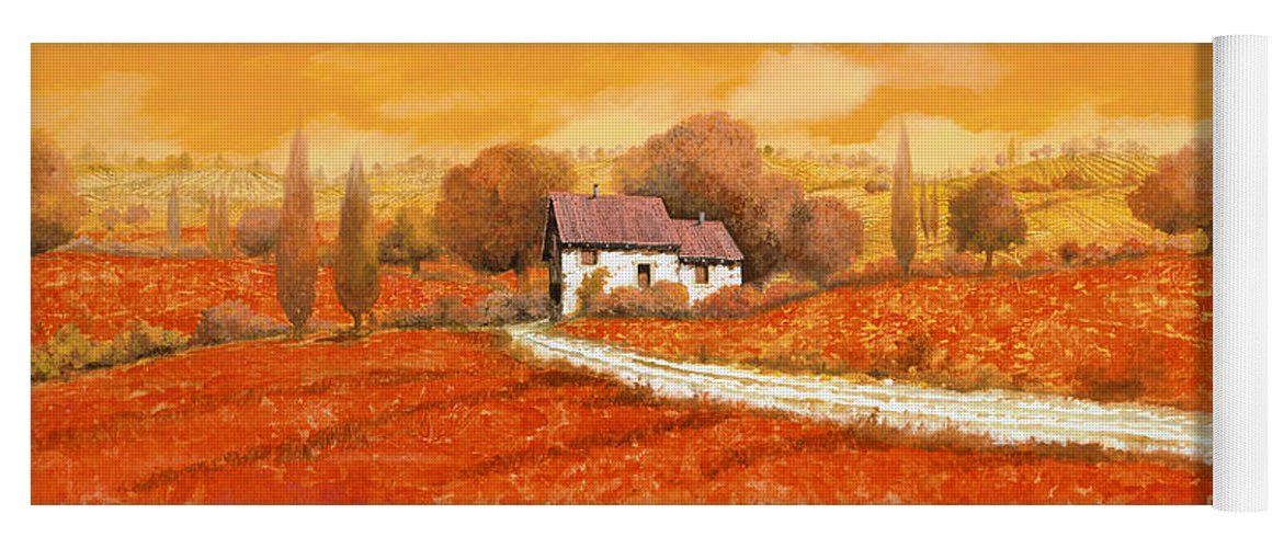 Tuscany Yoga Mat featuring the painting I papaveri rossi by Guido Borelli