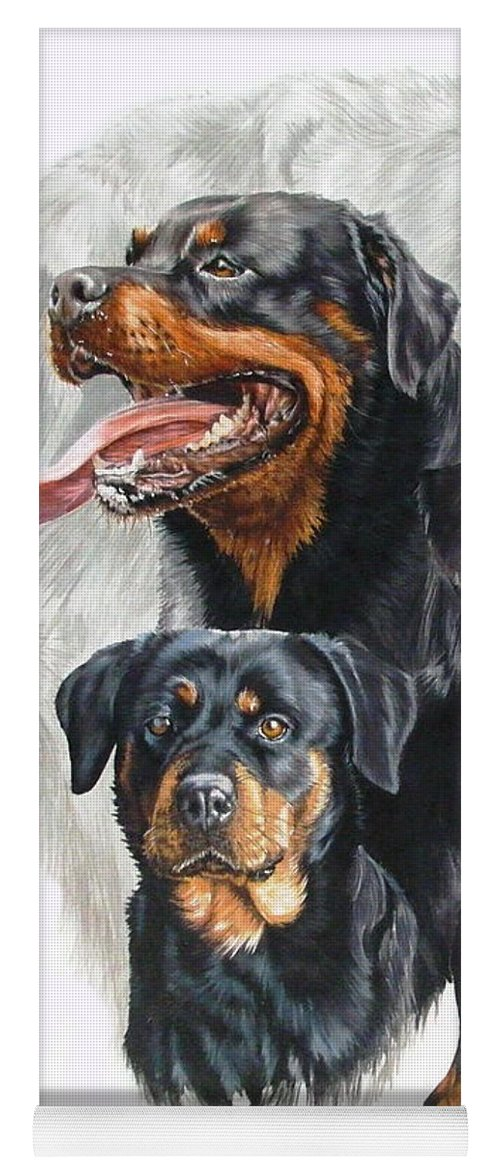 Rottweiler Yoga Mat featuring the mixed media Rottweiler Medley by Barbara Keith