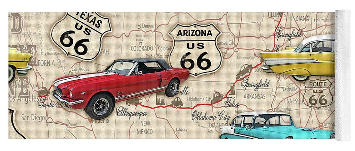 Route 66 Muscle Car Map-jp3961 Yoga Mat on yoga energy, yoga international, yoga back, yoga stretches, yoga adrenal glands, yoga leg workout, yoga history, yoga skin, yoga peace, yoga anatomy, yoga strength, yoga mind, yoga bones,