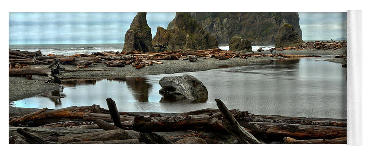 Ruby Beach Yoga Mat featuring the photograph Ruby Beach Driftwood by Adam Jewell