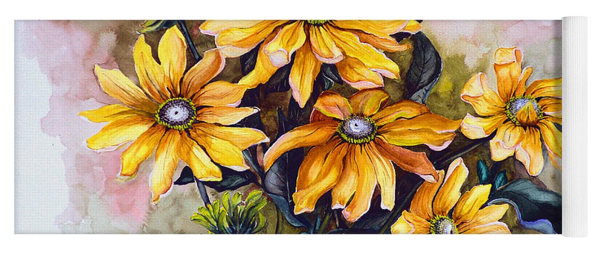 Flower Painting Sun Flower Painting Flower Botanical Painting  Original Watercolor Painting Rudebeckia Painting Floral Painting Yellow Painting Greeting Card Painting Yoga Mat featuring the painting RUDBECKIA Prairie Sun by Karin Dawn Kelshall- Best