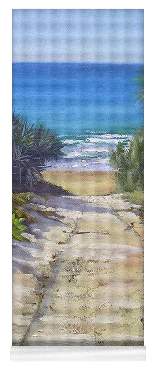 Beach Painting Yoga Mat featuring the painting Rules Beach Queensland Australia by Chris Hobel