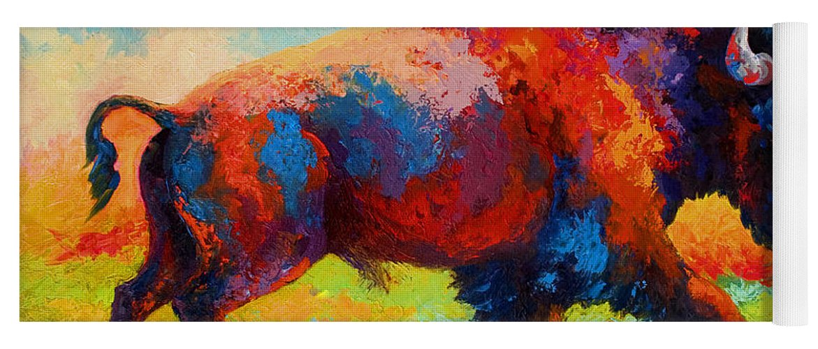 Bison Yoga Mat featuring the painting Running Free by Marion Rose