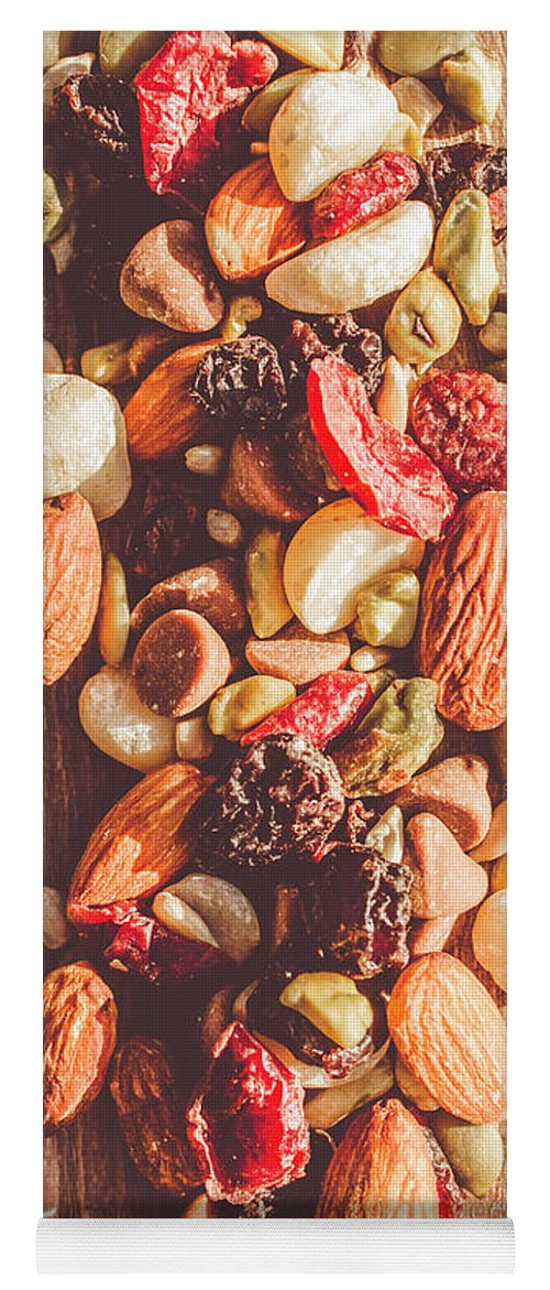 Rustic Yoga Mat featuring the photograph Rustic Dried Fruit And Nut Mix by Jorgo Photography - Wall Art Gallery