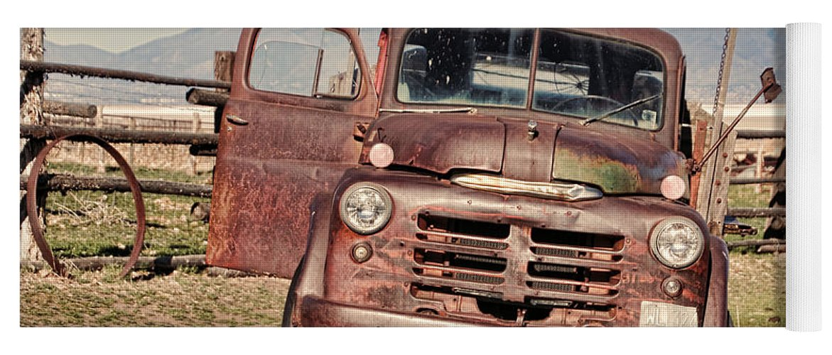 Antelope Island Yoga Mat featuring the photograph Rusty Old Dodge by Ely Arsha