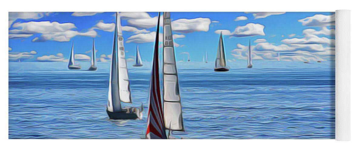 Sail Day Yoga Mat featuring the painting Sail Day by Harry Warrick