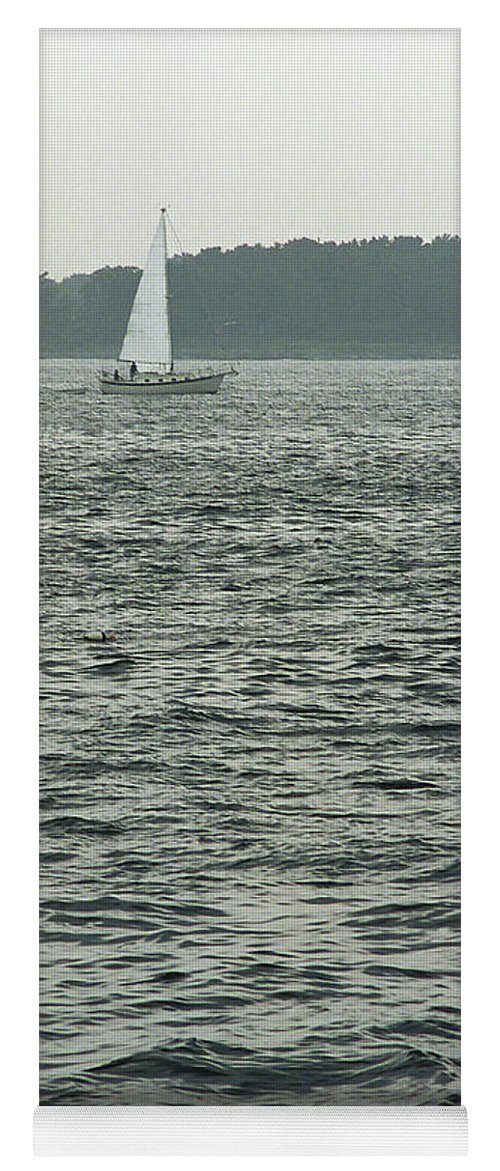 Adventure Yoga Mat featuring the photograph Sailboat And Waves, Piscataqua River, Maine 2004 by Frank Romeo