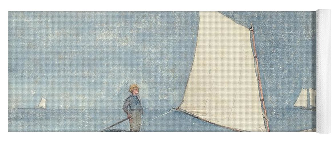 Boat Yoga Mat featuring the painting Sailing A Dory by Winslow Homer
