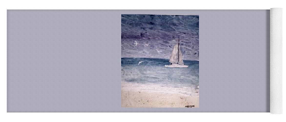 Watercolor Seascape Sailing Boat Landscape Painting Yoga Mat featuring the painting SAILING AT NIGHT nautical painting print by Derek Mccrea