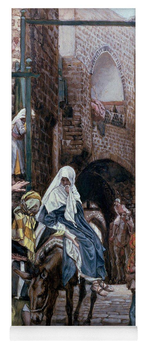 Joseph Yoga Mat featuring the painting Saint Joseph Seeks Lodging In Bethlehem by Tissot