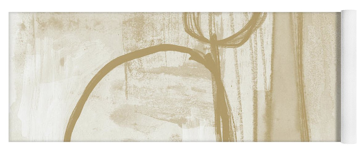 Abstract Yoga Mat featuring the painting Sand and Stone 2- Contemporary Abstract Art by Linda Woods by Linda Woods