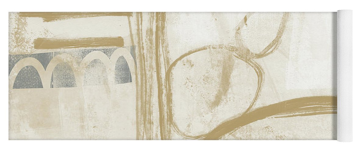 Abstract Yoga Mat featuring the painting Sand and Stone 3- Contemporary Abstract Art by Linda Woods by Linda Woods