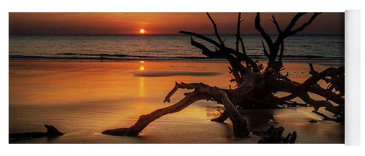 Chrystal Mimbs Yoga Mat featuring the photograph Sand Surf And Driftwood by Chrystal Mimbs
