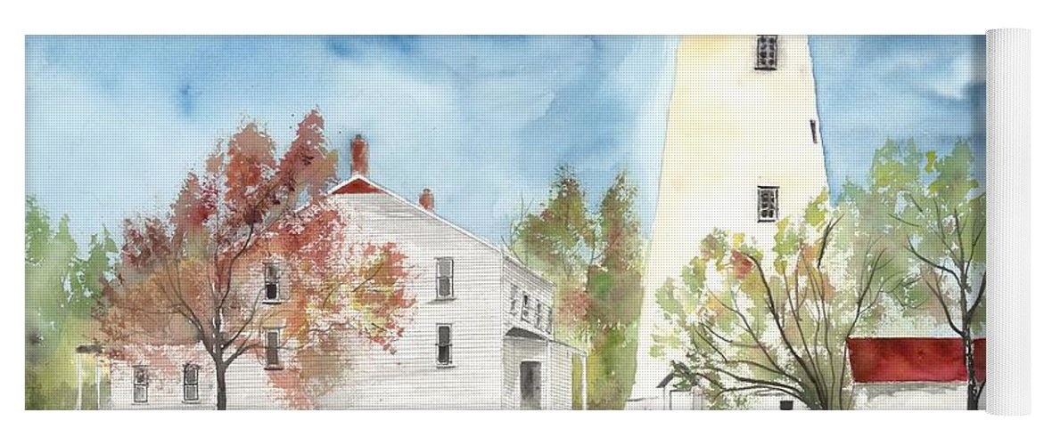 Watercolor Yoga Mat featuring the painting Sandy Hook Lighthouse by Derek Mccrea