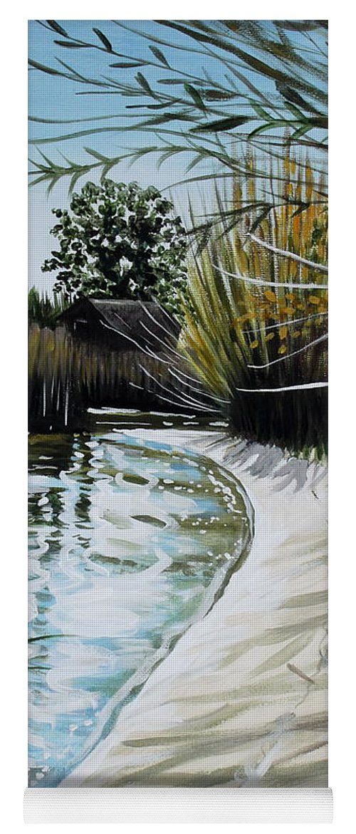 Landscape Yoga Mat featuring the painting Sandy Reeds by Elizabeth Robinette Tyndall