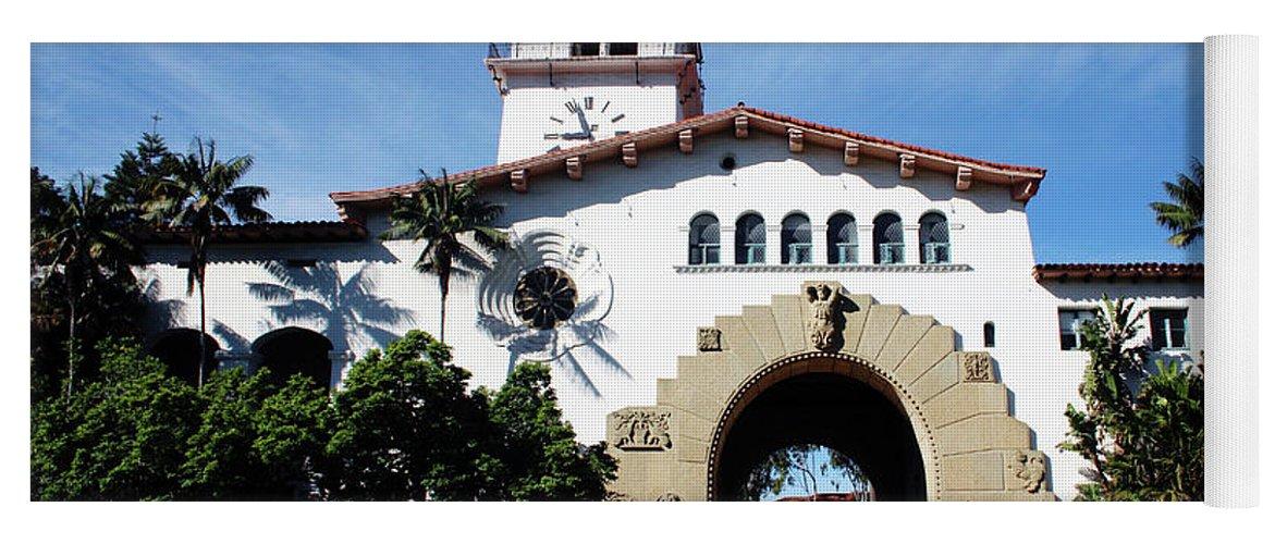 Santa Barbara Yoga Mat featuring the mixed media Santa Barbara Courthouse -by Linda Woods by Linda Woods
