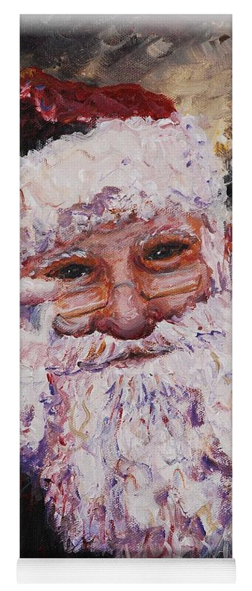 Santa Yoga Mat featuring the painting Santa Chat by Nadine Rippelmeyer