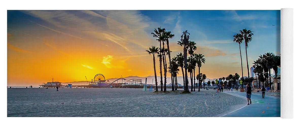Los Angeles Yoga Mat featuring the photograph Santa Monica Sunset by Az Jackson