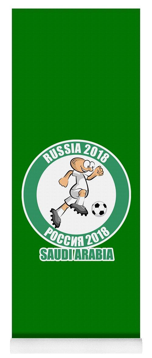 Saudi Arabia Yoga Mat featuring the drawing Saudi Arabia In The Soccer World Cup Russia 2018 by Daniel Ghioldi