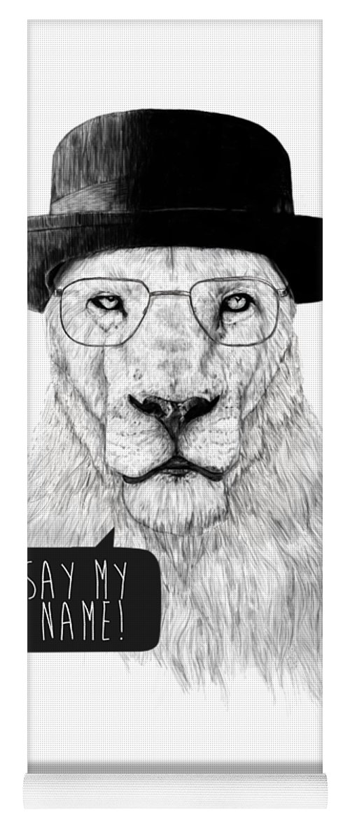 Lion Yoga Mat featuring the mixed media Say my name by Balazs Solti