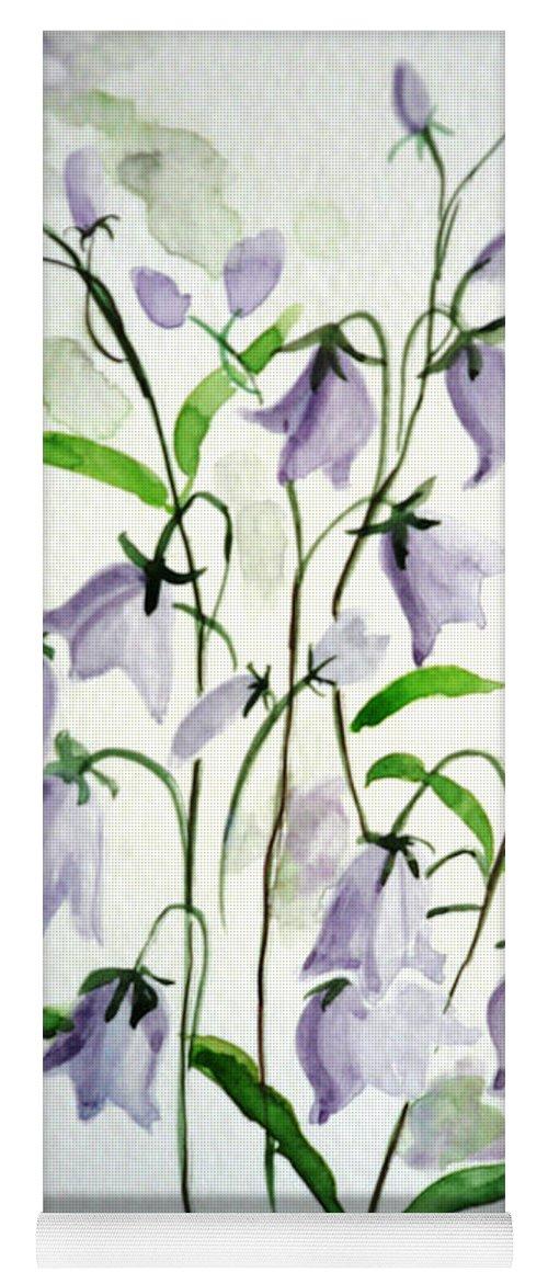 Blue Bells Hare Bells Purple Flower Flora Yoga Mat featuring the painting Scottish Blue Bells by Karin Dawn Kelshall- Best