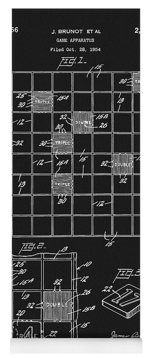 Scrabble Game Board Patent Yoga Mat featuring the drawing Scrabble Game Board Patent by Dan Sproul