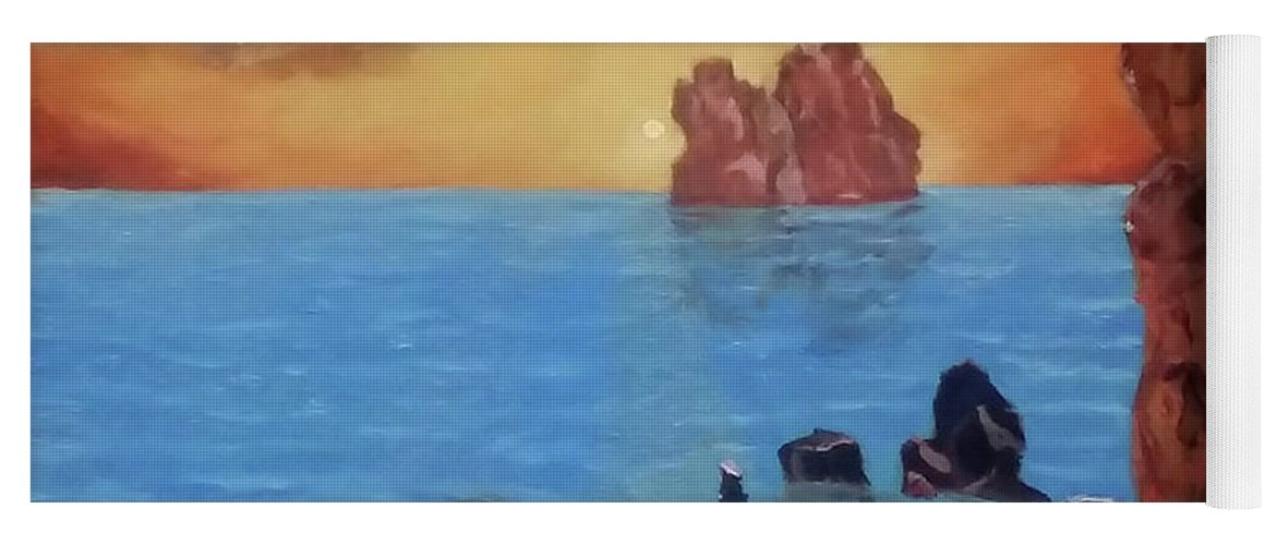 Sea Yoga Mat featuring the painting Sea Sunset by Stan Hamilton