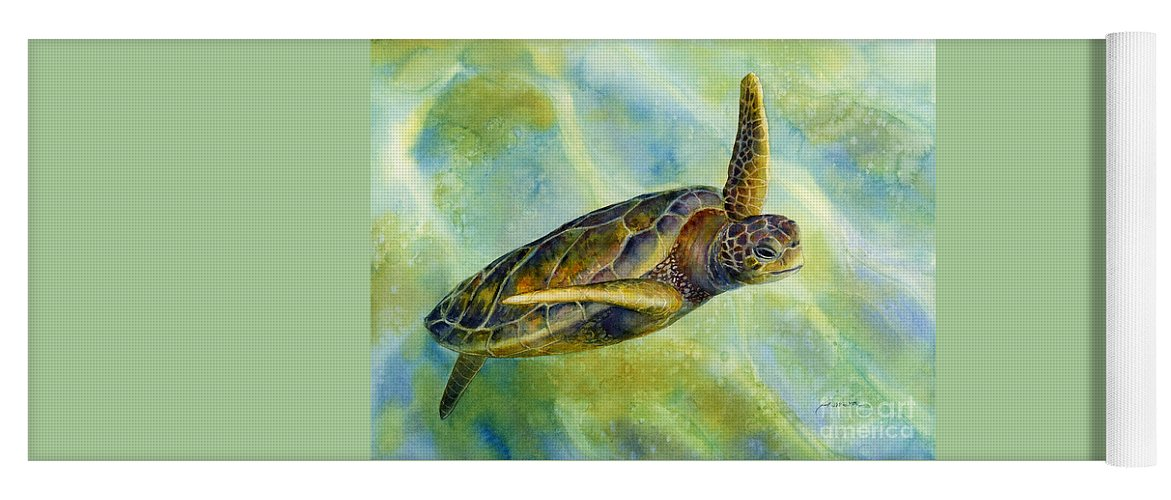 Underwater Yoga Mat featuring the painting Sea Turtle 2 by Hailey E Herrera