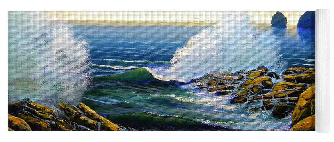 Seascape Yoga Mat featuring the painting Seascape Study 3 by Frank Wilson
