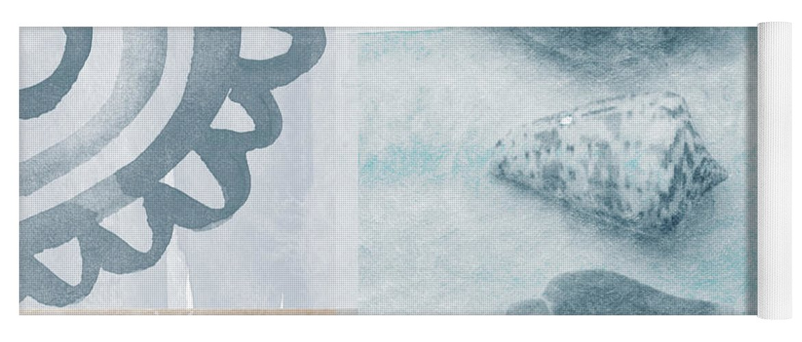 Beach Yoga Mat featuring the painting Seashells by Linda Woods
