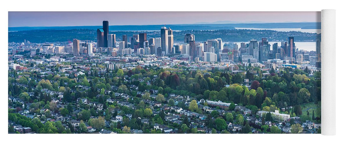 Seattle Skyline Aerial Above Capitol Hill Yoga Mat For