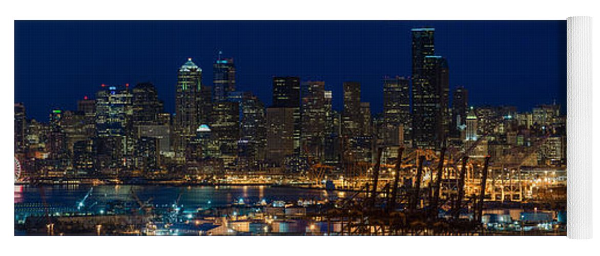 Seattle Yoga Mat featuring the photograph Seattle Skyline At Night From West Seattle by Mike Reid