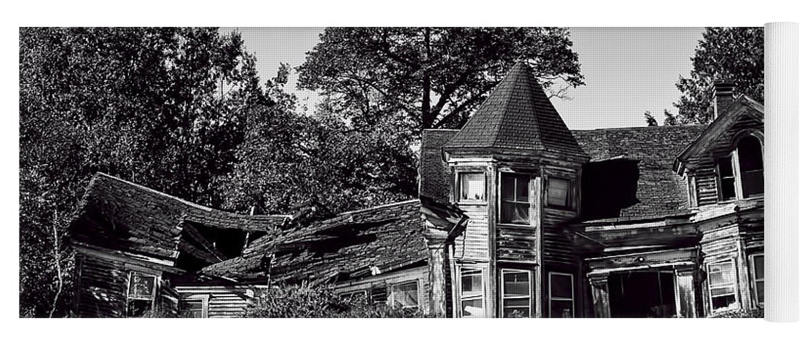 Black And White; Maine; House; Farm; Searsport; Dilapidated; Gothic; Victorian Yoga Mat featuring the photograph Seen Better Days by Mick Burkey