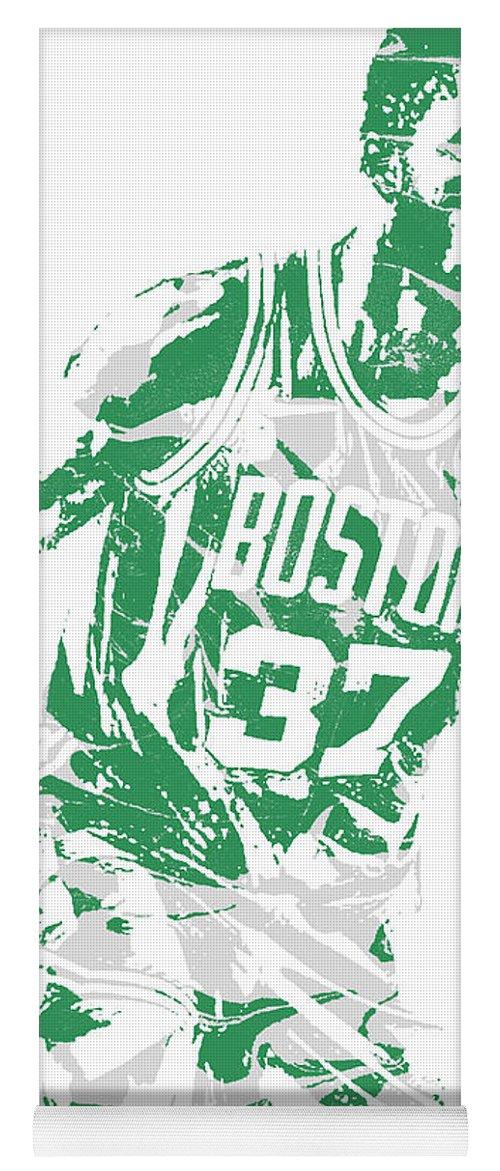 Semi Ojeleye Yoga Mat featuring the mixed media Semi Ojeleye Boston Celtics Pixel Art 2 by Joe Hamilton