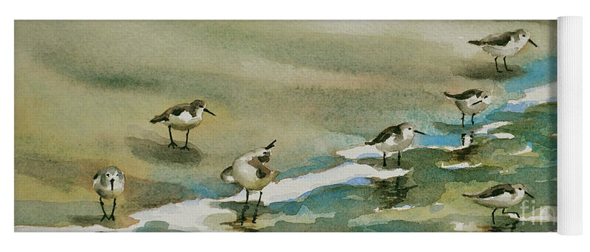 Sandpiper Art Yoga Mat featuring the painting Seven Sandpipers At The Seashore by Julianne Felton