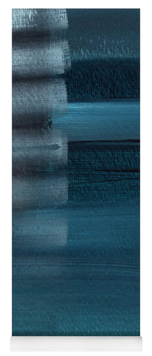 Blue Yoga Mat featuring the painting Shallow- Abstract Art by Linda Woods by Linda Woods