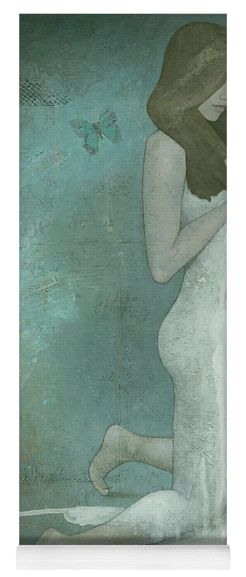 Green Yoga Mat featuring the painting Shavata by Steve Mitchell