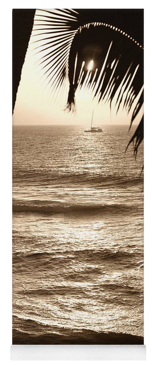 Hawaii Yoga Mat featuring the photograph Ship in Sunset by Marilyn Hunt