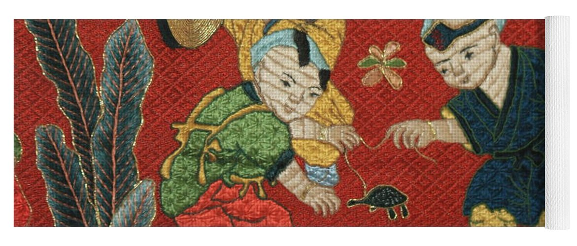 Children Playing Yoga Mat featuring the photograph Silk Robe - Children Playing With Turtle by Carol Groenen
