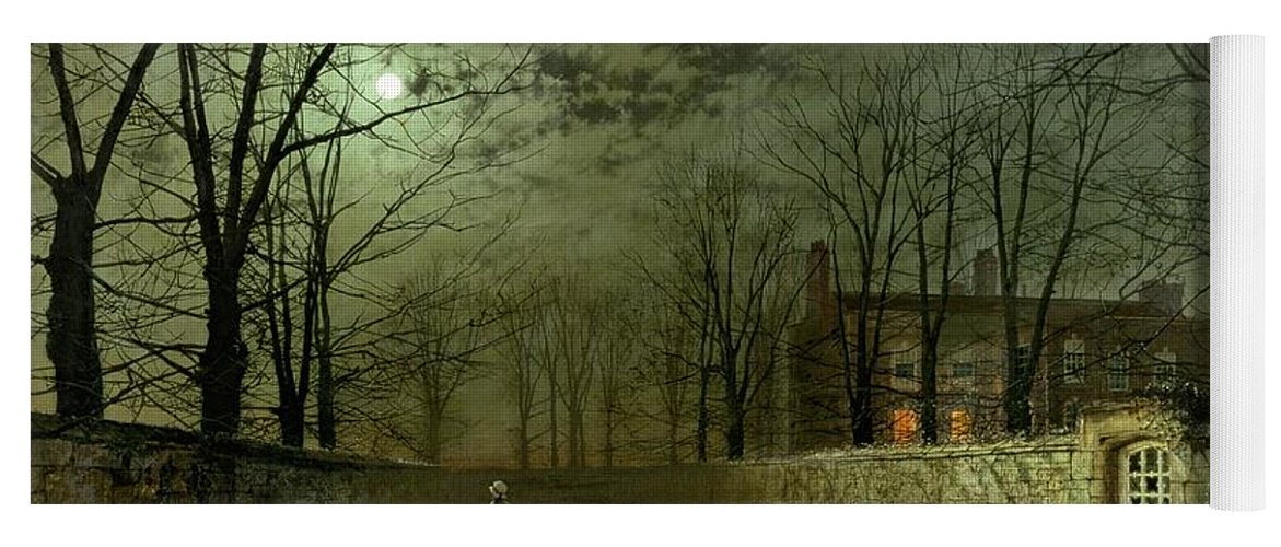 Silver Moonlight Yoga Mat featuring the painting Silver Moonlight by John Atkinson Grimshaw