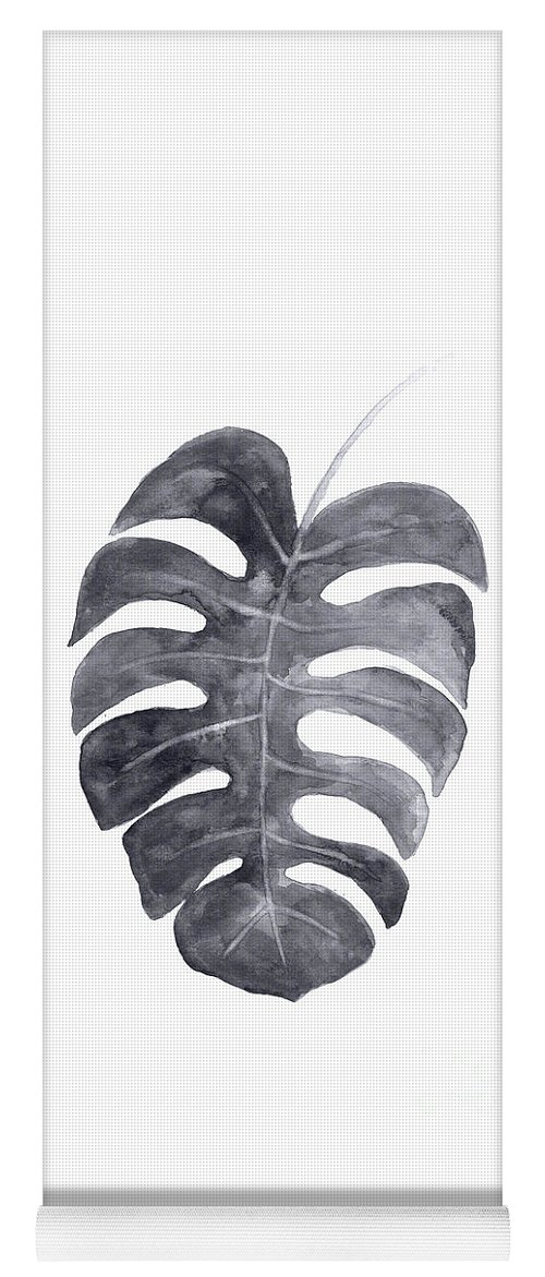 Monstera Leaf Yoga Mat featuring the painting Single Charcoal Monstera Leaf by Joanna Szmerdt