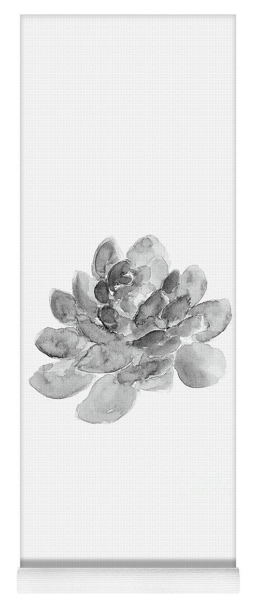 Single Succulent Yoga Mat featuring the painting Single Grey Succulent Watercolor by Joanna Szmerdt