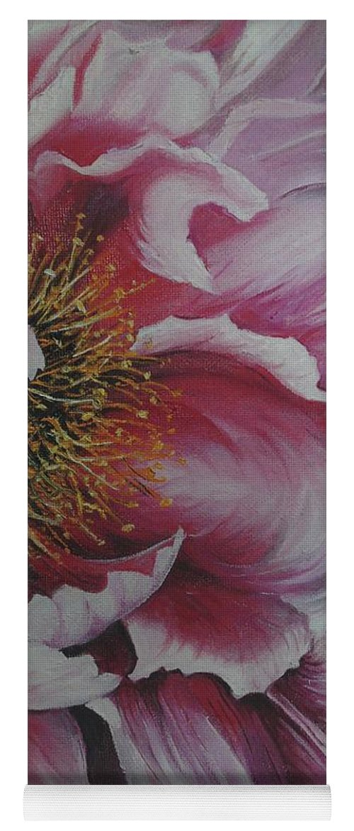 Pink Peony Yoga Mat featuring the painting Single Peony by Karin Dawn Kelshall- Best