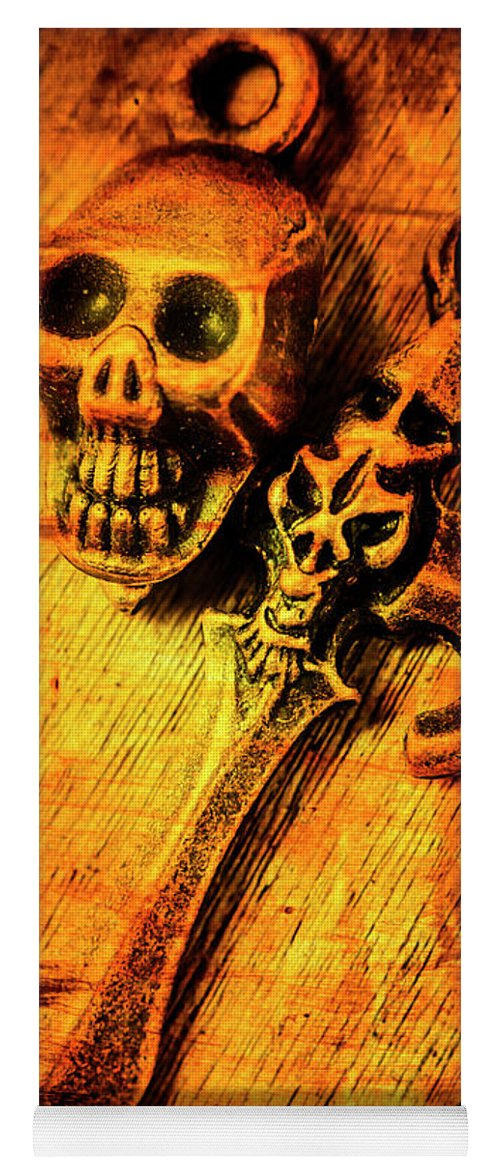Skull Yoga Mat featuring the photograph Skull And The Sword by Jorgo Photography - Wall Art Gallery